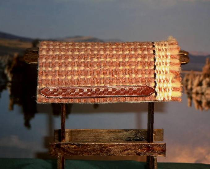 Woven Look Saddle Blanket in Peach/Mauve With Basketstamped Wear Leathers